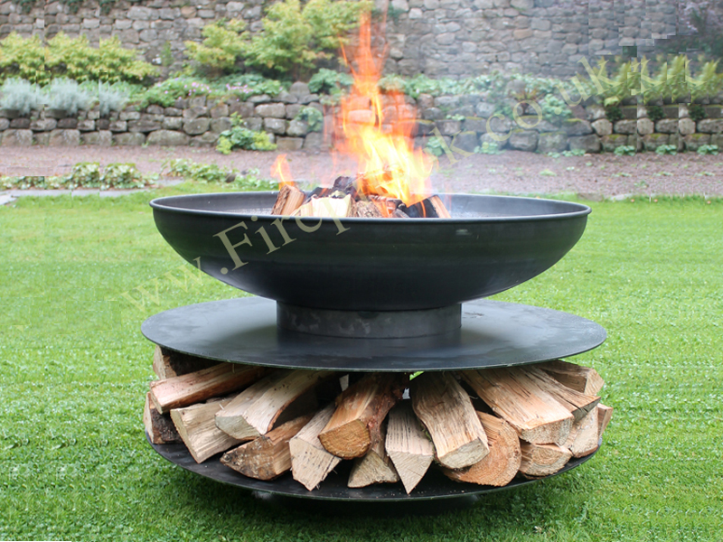 firepit ring of logs 120 with 4 swing arm bbq racks