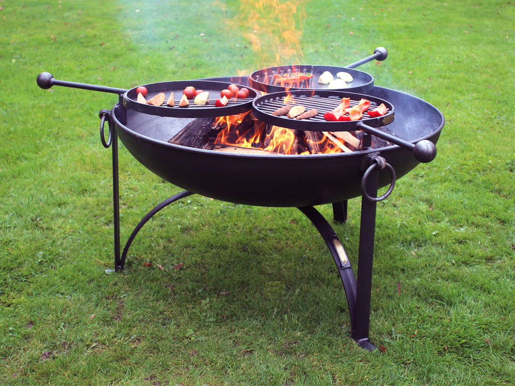 fire pit plain jane 90 with three swing arm bbq racks firepits uk