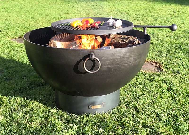 Fire Pit Solex 85cm with bbq swing arm bbq rack (5mm thick)