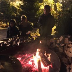 Children toasting marshmallows over fire pit at night