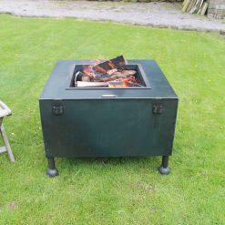 Square Box 80x80 fire pit in garden