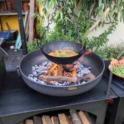 Hanging Cooking Bowl cooking food over fire pit