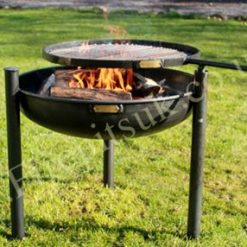 Legs Eleven fire pit with swing arm lit in garden