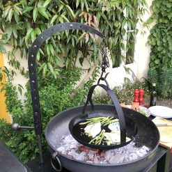 Hanging Arm with Hook with Skillet Pan over Fire Pit