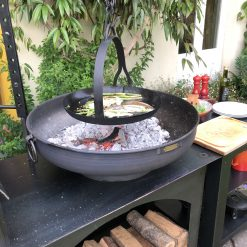 Flat Bottomed Hanging Skillet Pan over fire pit