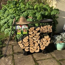 Tall Log Store in garden