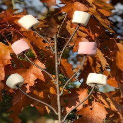 Marshmallow Fork with Marshmallows on 8 prongs with Autumn leaves